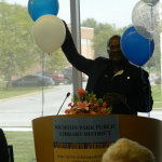 Speaking at the Richton Park Library Opening