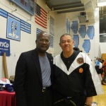 With one of the many karate instructors at the event.