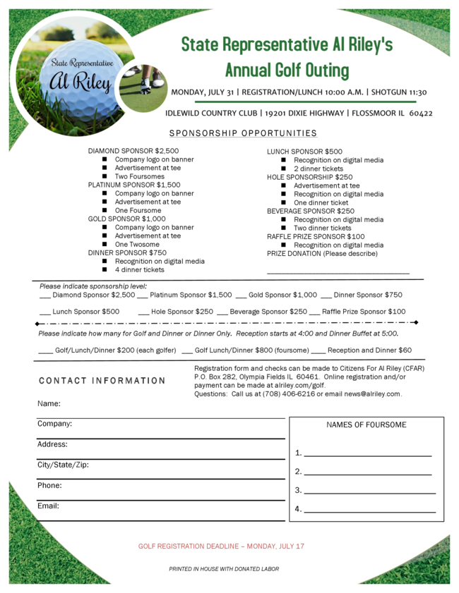 Golf registration form 2017